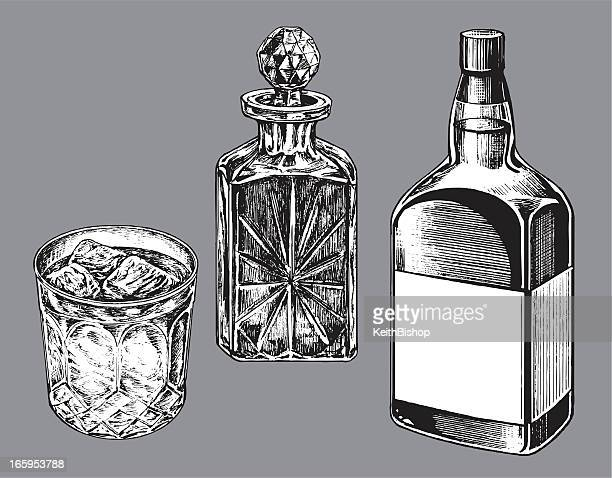 Whiskey Bottle, Caraf and Tumbler Glass
