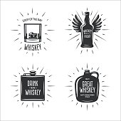 Whiskey related typography set. Quotes about whiskey. Creative trendy design elements for pub advertising, prints, posters. Vector vintage illustration.