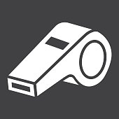 Whistle glyph icon, fitness and sport, referee sign vector graphics, a solid pattern on a black background, eps 10.