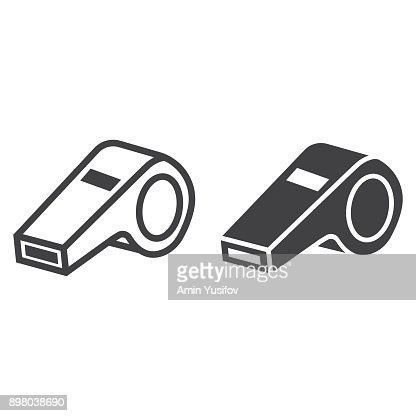 Whistle line and glyph icon, fitness and sport, referee sign vector graphics, a linear pattern on a white background, eps 10. : stock vector