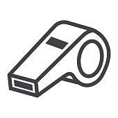 Whistle line icon, fitness and sport, referee sign vector graphics, a linear pattern on a white background, eps 10.
