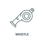 Whistle vector line icon, outline concept, linear sign