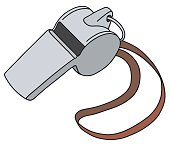 Hand drawing of a small metal whistle with the red cord