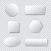 White 3d blank square and rounded button vector set. Button banner round, badge interface for application illustration on transparent background