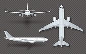 White airplane with shadow icon set on transparent background in profile and from the front isolated vector illustration.