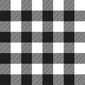 Classic style white and black buffalo check flannel plaid seamless pattern