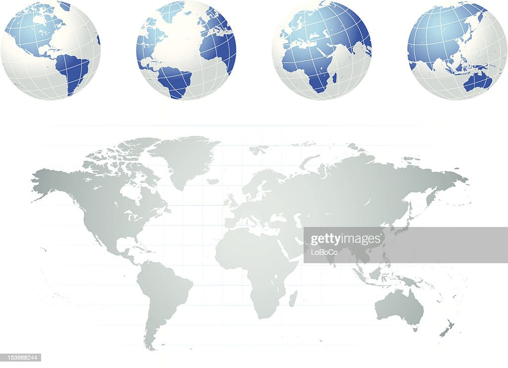 Flat earth map vector design templates white and blue world globes above a shadowy flat world map vector art gumiabroncs Images