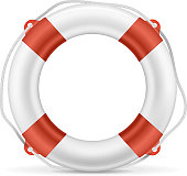 White lifebuoy with red stripes and rope. EPS10 opacity