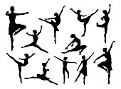 A set of high quality detailed silhouettes of a ballet dancer dancing in various poses and positions