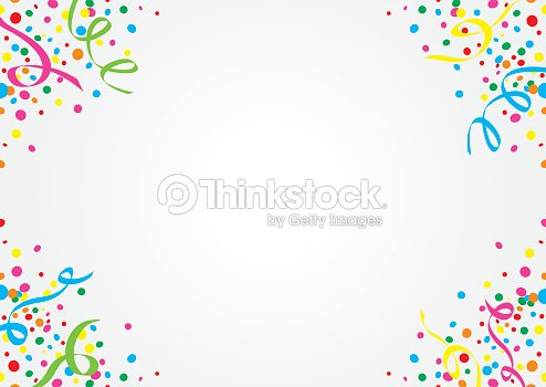 white background of colorful confetti and streamers vector art