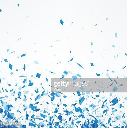 Fond blanc avec des confettis bleu. : Clipart vectoriel
