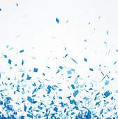 White background with blue paper confetti. Vector illustration.