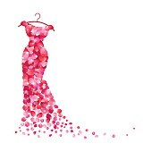 White background with dress of pink rose petals