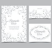 Vector illustration of gypsophila flower. White background with flowers. Set of greeting cards