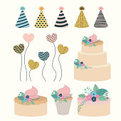 white background with set elements to party happy birthday vector illustration