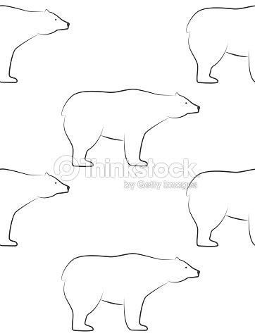 White Bears Pattern Seamless Pattern In Scandinavian Style With