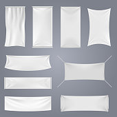White blank textile advertising banners with folds vector templates. Empty smooth poster or placard set for advertising