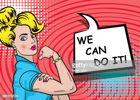 White blonde woman WE CAN DO IT : stock vector