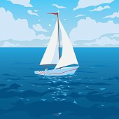White boat with sail and red flag. Tropical ocean with calm waves and seagulls. Summer sky with clouds. Vector illustration of seascape with sailboat in flat faceted style for design travel, articles