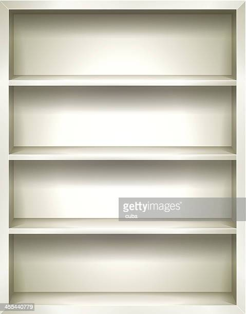 White Bookshelves Background
