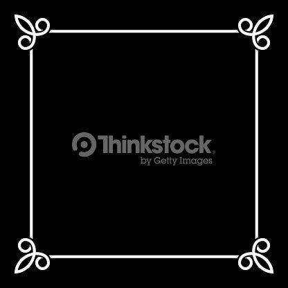 White Border Vintage Frame On Black Background Vector Art