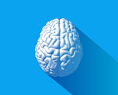 Brain engraving drawing top view isolated on blue background in striped line style with long shadow illustration