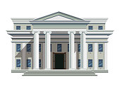 Front view of court house, bank, university, governmental institution. White brick public building with high columns and open doors. Flat style modern vector illustration isolated on white background.
