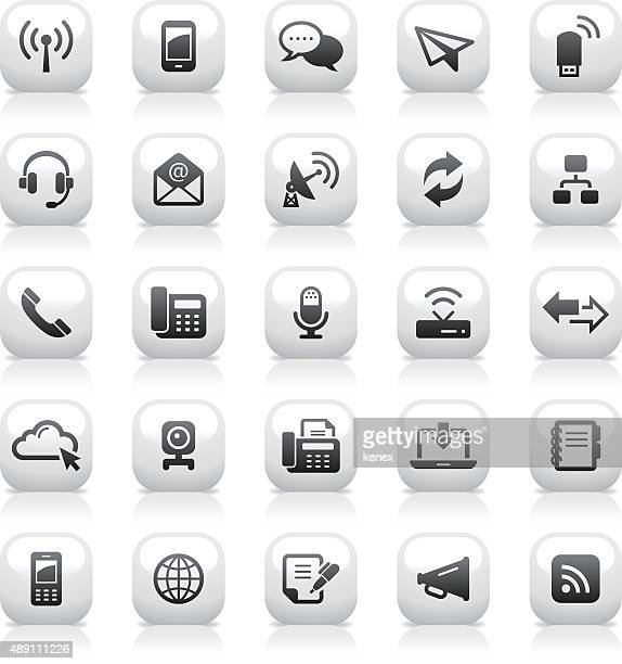 White Button Icons Set | Communication