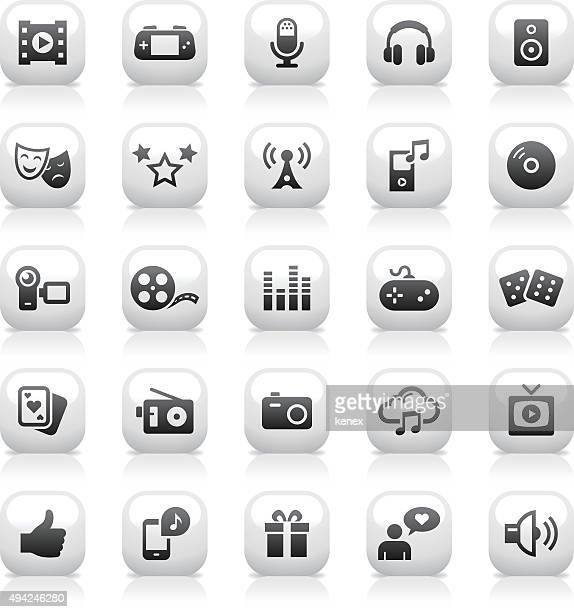 White Button Icons Set | Entertainment