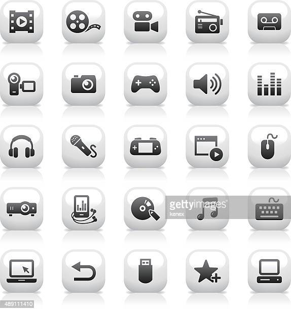 White Button Icons Set | Media