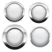 White buttons with chrome frame. Round glass shiny 3d icons. Vector illustration isolated on white background