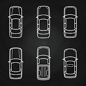 White cars template set - cars top view icons. Vector illustration