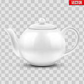 White ceramic teapot. Vector illustration Isolated of transparent background.