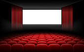 White luminous cinema movie theatre screen with red curtains and rows of chairs, realistic vector illustration, background. Concept movie premiere, poster with interior of a cinema and space for text