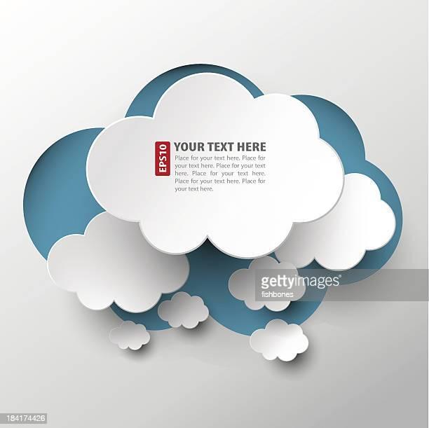 White cloud découpes organisés sur Bleu nuage
