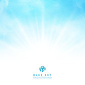 White cloud detail in blue sky with lighting blank copy space for your text. Vector illustration