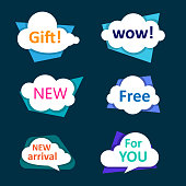White shopping cloud labels isolated on blue background. Vector illustration.