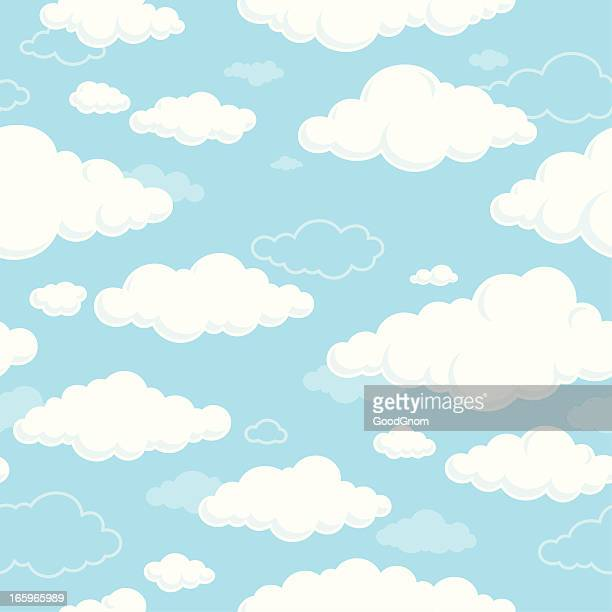 White clouds and blue sky seamless