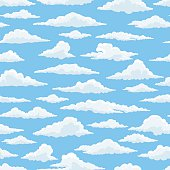 White clouds blue sky seamless pattern vector illustration