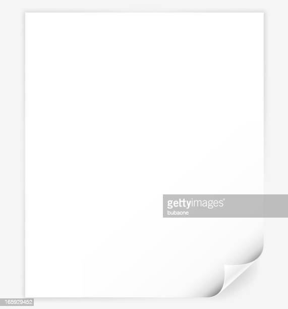 White computer Paper with page curl