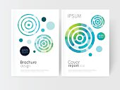 White cover brochure. modern abstract geometric vector background. brightly colored green and blue concentric circles. Cover design template business brochures, booklets, leaflets, flyers, books, maga