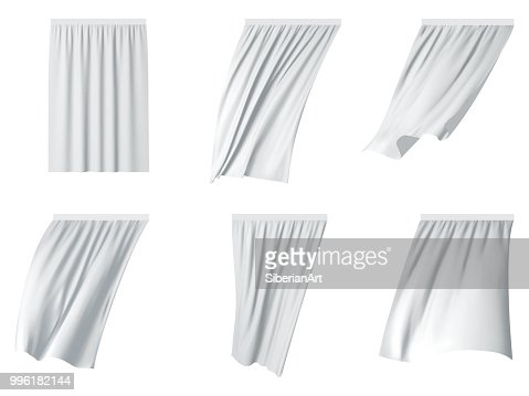 White curtain set vector realistic illustration : stock vector