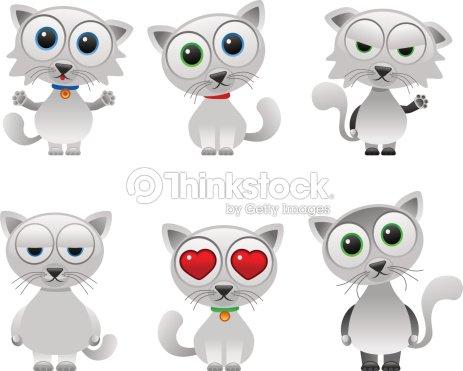 Chats Ensemble Blanc Adorable Clipart vectoriel | Thinkstock