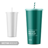 White paper disposable cup with lid and straw for cold beverage -soda, ice tea or coffee, cocktail, milkshake. 500 ml. Realistic packaging mockup template with sample design. Vector 3d illustration.