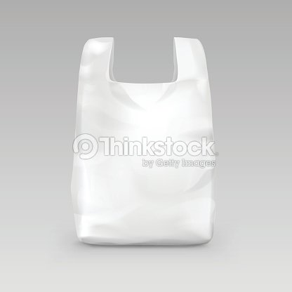white disposable plastic shopping bag with handles isolated on