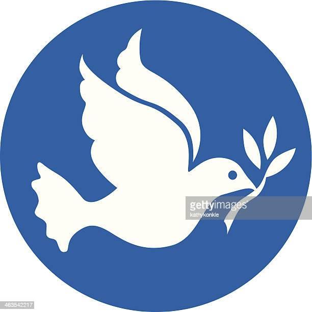 Blanche Colombe de la paix sur blue circle