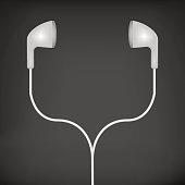 white earphones illustration on a black background