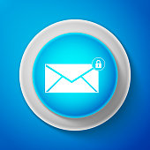 White Email message lock password icon isolated on blue background. Envelope with padlock sign. Private mail and security, secure, protection, privacy symbol. Circle blue button. Vector illustration