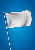 white flag waving over the sky. customizable vector illustration