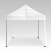 White Folding Tent Mockup Vector. Promotional Outdoor Event Trade Show Pop-Up Tent Mobile Marquee, Template. Product Advertising